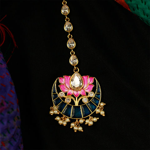 Meenakari Maang Tikka With Gemstones