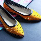 Laser Cut Yellow Ballerina Flats