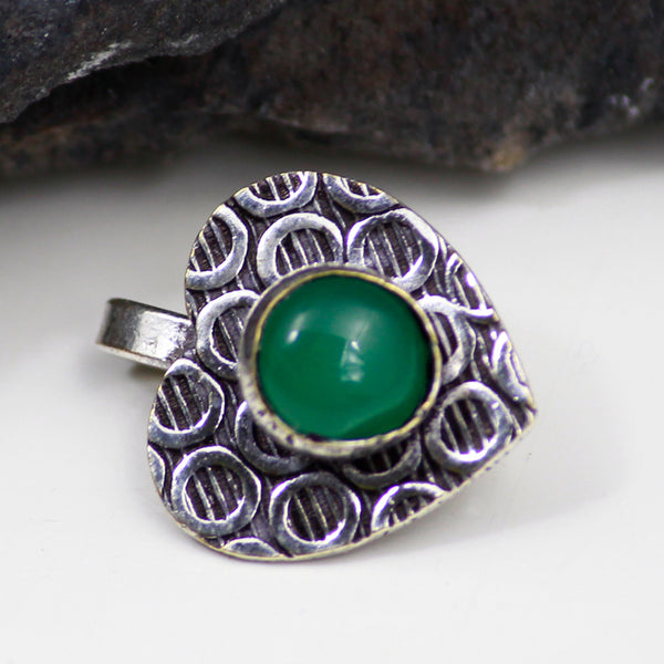Antique Silver Tone Nose Pin with Green Stone