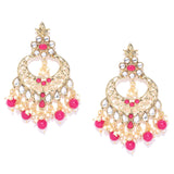 Traditional Gold Tone Kundan Earrings with Pink Stones
