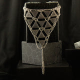 Silver Geometric Pattern Toe Ring Anklet