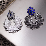 Blue Accent Silver Tone Jhumki Earrings