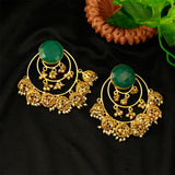 Gold Matte Multi Jhumki Earrings With Green Stone