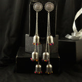 Silver Tone Long Hanging Dome Shaped Jhumkas
