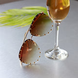Pilot Style Sunglasses with Decorative Frame