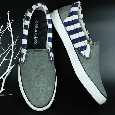 Couch Potato Striped Slip Ons - Grey : Blue