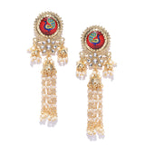 Peacock Motif  Gold Tone Layered Earrings