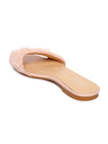 Estatos Leather Pink Single Strap Open Toe Flats