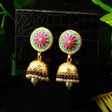Hand Painted Gold Matte Jhumki Earrings