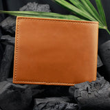 Two Fold Tan Wallet with contrast Piping