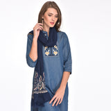 Solid Cotton Embroidered Scarf