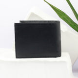 Stitch Detail Two Fold Black Wallet
