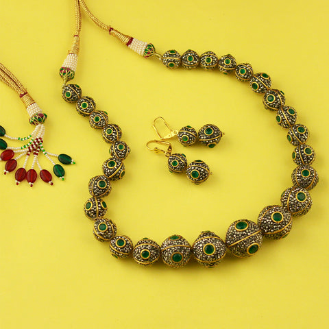 Stone Studded Rohati Necklace Set