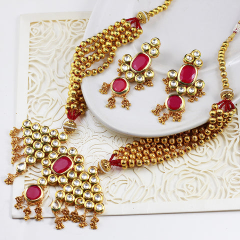 Gold Beads Multi-Stranded Kundan Necklace Set
