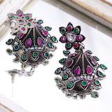 Pink & Green Stone-Studded Oxidized Earrings