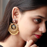 Gold Plated Meenakari Chandbali Earrings