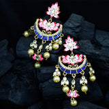 Hand Painted Floral Chandbali Earrings with Pearls