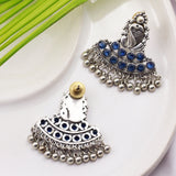 Traditional Silver Tone Earrings with Blue Stones