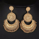 Chica Fashion Jewellery by Fizz: Oxidized Golden Chandbali Earrings