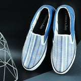 Couch Potato Striped Slip Ons : Blue