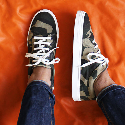 Camouflage Print Canvas Sneakers