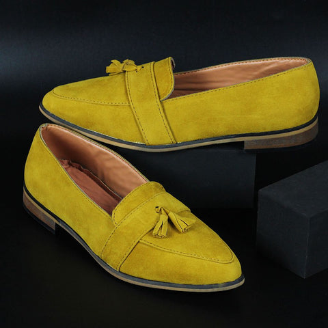 Mustard Yellow Loafer Shoes with Tassels