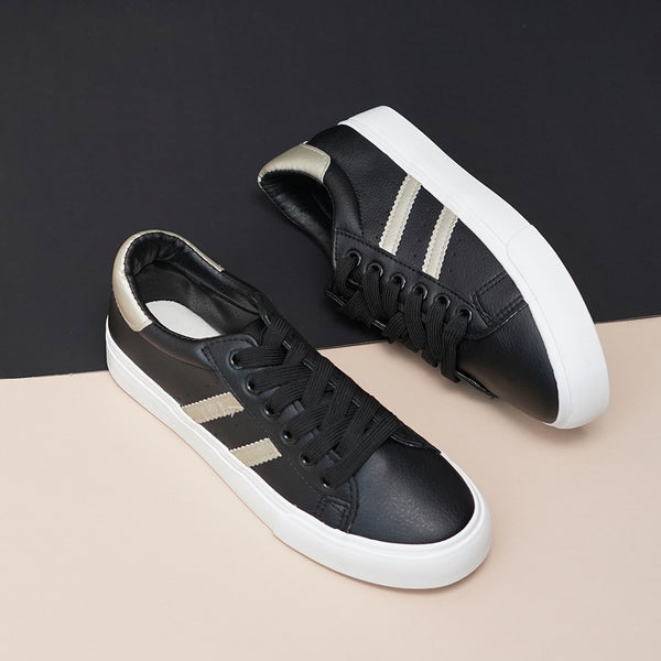 Solid Black Sneakers with Side Stripes for Women