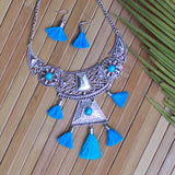 Silver Neckpiece & Earring Set with Tassels