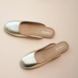 Metallic Finish Slider Flats for Women