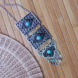 Traditional Silver Toned Tiered Necklace with Turquoise Stones