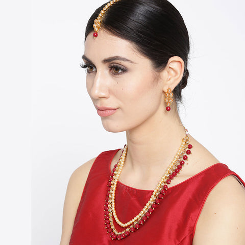 Layered Kundan Necklace Set with Red Beads
