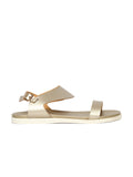Estatos Metallic Shine Leather Open Toe Buckle Closure  Golden Flat Sandals  for Women