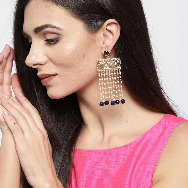 Gold & Navy Blue Earrings with Pearls