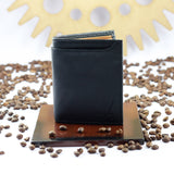 Solid Black Wallet with External Pocket