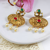 Kundan Gold Tone Earrings With Pearls