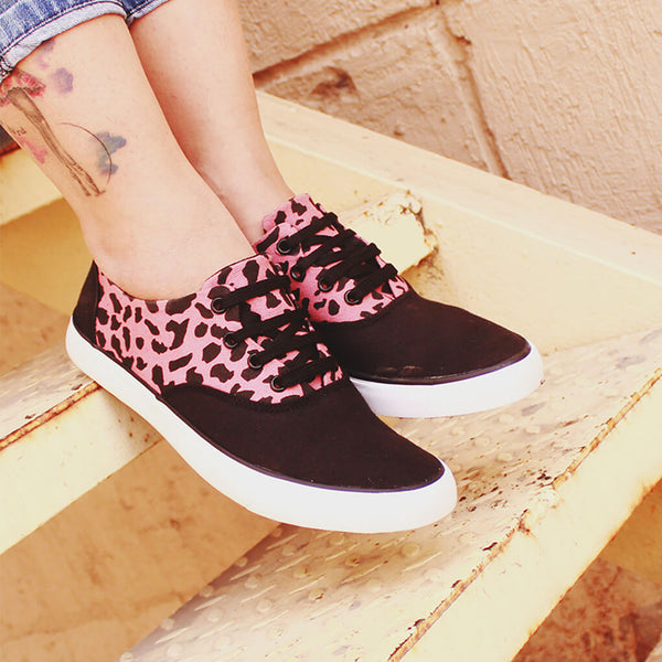 Leopard Print Canvas Sneakers for Women