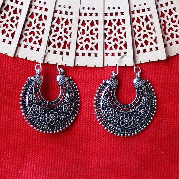 Floral Oxidized Silver Toned Chandbali