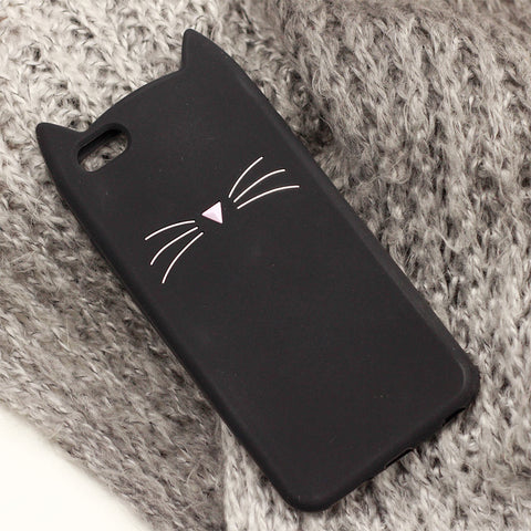3D Beard Cat Ears Black Back iPhone Cover