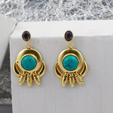 Gold Tone Earrings with Teal Stone