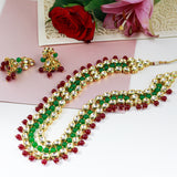 Multicolor Kundan Stone-Studded Multi-Stranded Necklace Set