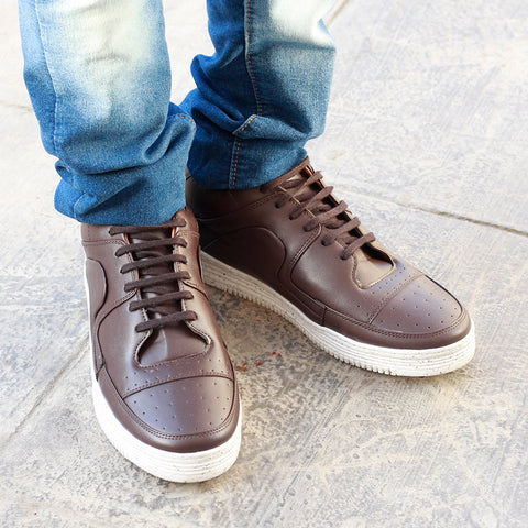 Perforated Men's Brown Sneakers
