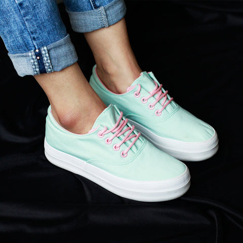 Fashion Sneakers Lace up Teal For Women