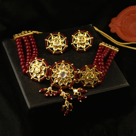 Maroon Beads Kundan Choker Necklace Set