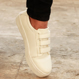 Velcro Strap Women's White Sneakers