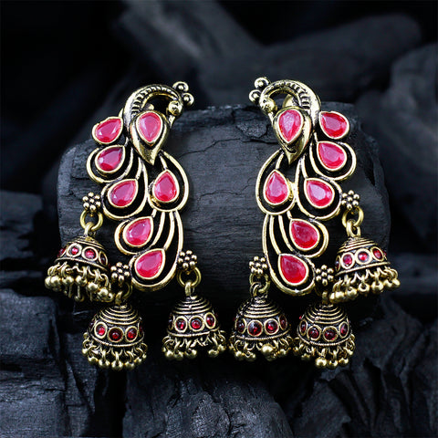 Peacock Earrings With Pink Gemstones