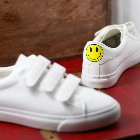 Smiley Print Women White Sneakers