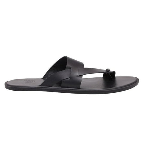 Sardinia Matte Black Men's Leather Sandals