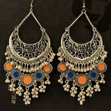 Oxidized Silver Tone Afghani Earrings With Beads