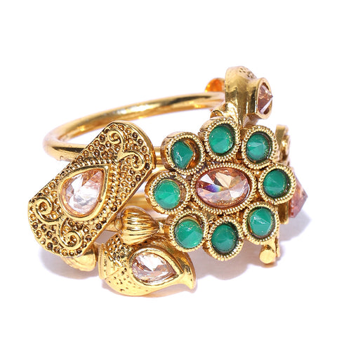 Gold Tone Ring with Green Stones