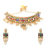 Choker Style Necklace Set with Multicolor Stones
